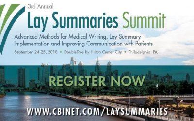CBI's 3rd Annual Lay Summaries Summit | September 24-15, 2018 | Philadelphia, PA